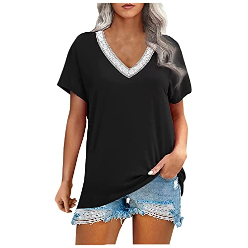 Blusa de verano para mujer, de algodón puro, monocolor, manga corta, informal, con bordado, cuello en V, Negro , S