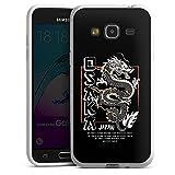 DeinDesign Silikon Hülle kompatibel mit Samsung Galaxy J3 Duos 2016 Hülle weiß Handyhülle Japan Drache Meer