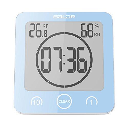 Shower Clock Dusche Uhr Wasserdicht, Badezimmeruhr Digital Wecker mit Saugnapf LCD Display, AM/PM oder 24 Stunden Format, Berührungssteuerung ℃ / ℉ Temperatur Luftfeuchtigkeit, Countdown Timer (Blau)