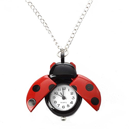 SODIAL(R) Collar Cadena Reloj Metal Figura Mariquita Color Rojo Moda