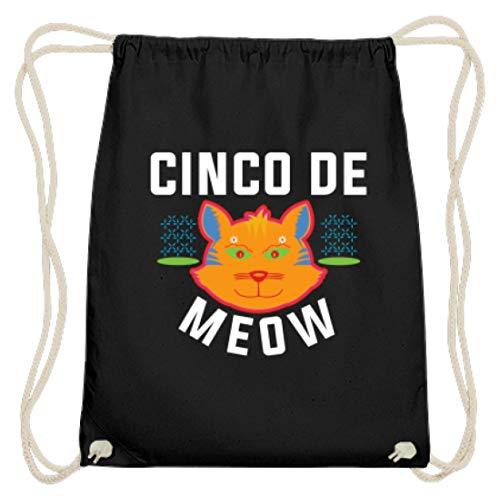 Cinco De Mayo - Cinco De Meow Miau Katze Damen Herren - Schlichtes und WItziges Design - Baumwoll Gymsac