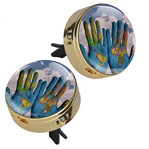 Mapa del mundo para pintar a mano en coche, aromaterapia, difusor de aceites esenciales, medallón con cierre magnético con clip de ventilación, 4 almohadillas de recambio (doradas)