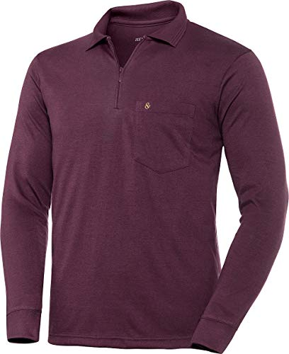 Henson & Henson Herren Poloshirt Langarm in Bordeaux mit Zipper, Langarm-Polo aus feinstem Jersey-Gewebe, klassisches Polohemd im Regular-Fit Schnitt, Gr. 48-60
