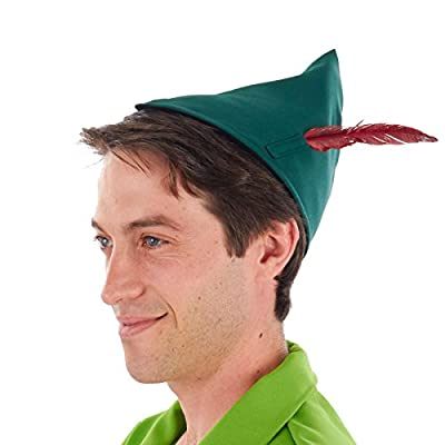 Classic Peter Pan Costume Hat with Feather (One Size) Green