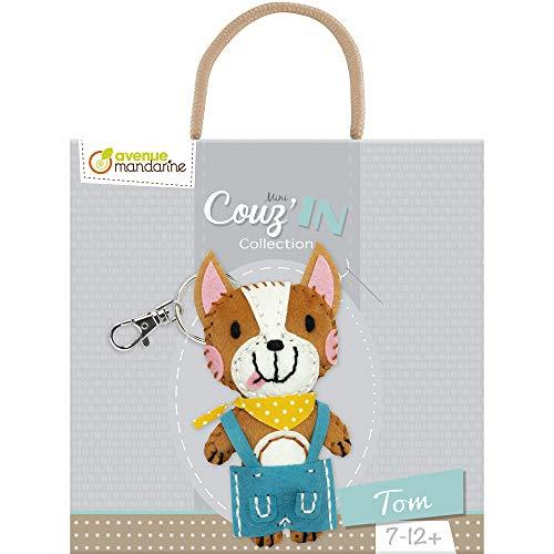 Avenue Mandarine KC087C Mini Couz'IN: portachiavi a forma di animale da cucire, Tom il cane