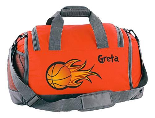 Mein Zwergenland Sporttasche Kinder mit Schuhfach und Nassfach Kindersporttasche 41L mit Namen personalisiert, Motiv Basketball, in Orange