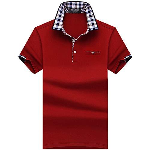 Herren Kurzarm Poloshirt,Golf Tennis Herren T-Shirt, Oberteil Für Männer, Herrenshirt Lässiger Klassiker Bequem Atmungsaktiv,Plus Size Mens Wein Rot, 5XL