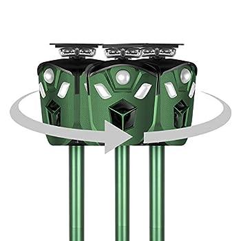 CRZJ Repeller Animal, répulsionnel à ultrasons Repeller à Trois côtés de Recharge de Chat Anti-côtes, IP65 imperméable Solaire à énergie Solaire, pour Chat Chien Oiseaux Renards