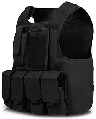 JN Multi-Function Tactical Vest Children Outdoor CS Shooting Protection Gear Vest Kid Military Tactical Vest Combat Training Camping Molle Hunting Vest Jungle Outdoor Equipment Waistcoat (Black)