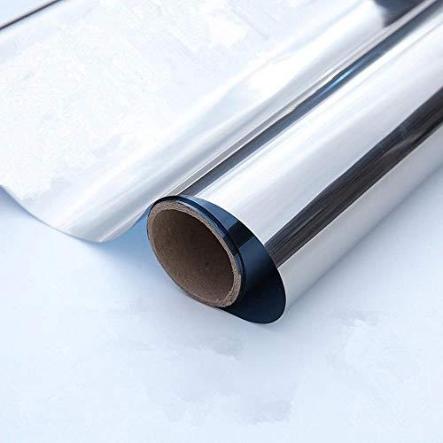 Lengte 2 / 5m Zilver eenrichtingsglas Zelfklevende film DIY Reflecterende spiegel Raam Tint UV Zon raamfolie privacybescherming, 50 x200 cm