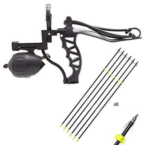HANDBAIGE Fishing & Hunting Slingshot Set Professional Outdoor Sports Catapult Wrist Rocket Fishing Slingshot Powerful Slingshot + 6 Pack Archery Arrows, Fishing Reel