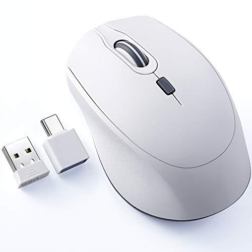 TopMate Office Silent Mouse, ratón inalámbrico 2,4 G con adaptador de tipo C, 3 niveles ajustables, ratón ergonómico para ordenador portátil, PC, Windows, Mac OS-blanco