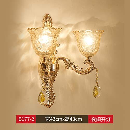 Agorl Lampe murale européenne cristal chambre lampe murale escalier extérieur lumière simple lampe de tête de tête lampe de mur lampe, LT177 + double tête