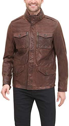 Tommy Hilfiger Men s Smooth Lamb Leather Four Pocket Military Jacket Dark Brown Medium product image