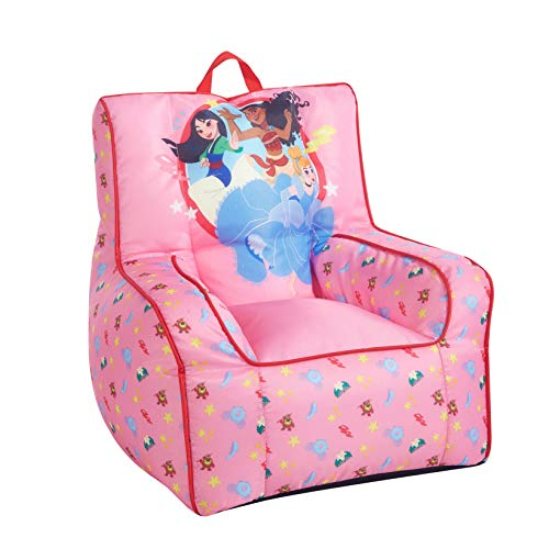 Idea Nuova Disney Princess Toddler Nylon Bean Bag Chair with Piping & Top Carry Handle