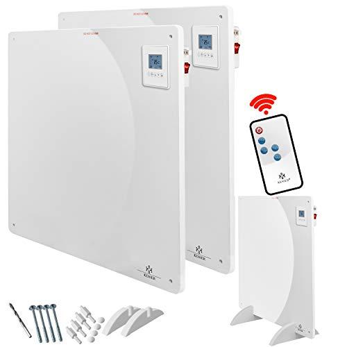 KESSER® 2x Infrarotheizung 425 Watt mit Fernbedienung ✓ LCD-Display Digital ✓ Timer ✓ Wandheizung ✓ Infrarot ✓ Heizung ✓ Heizkörper | Heizpaneel | Inkl.Standfüßen NEU |