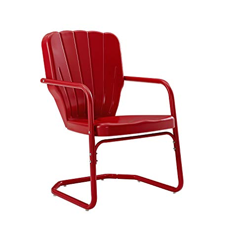Crosley Furniture CO1031-RE Ridgeland Retro Metal Chair, Red