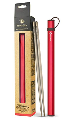 finessCity Chopsticks, 1 Pair of Chopstick, Titanium Chopsticks with Aluminium Case (Red)