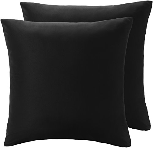 Amazon Basics Taies d'oreiller en microfibre, Noir, 65cmx65cmx2