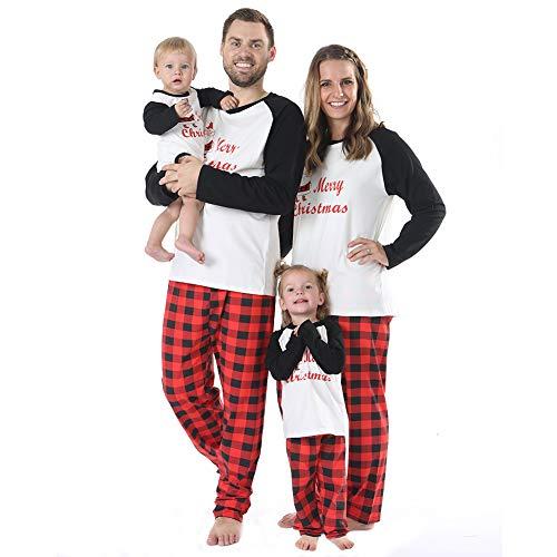 BOBORA Christmas Pajamas for Family, Merry Christmas Santa Classic Plaid Matching Family Xmas Pajama Set