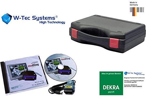 W-Tec Systems OBD2 KFZ Testerset mit Interface inkl. Diagnose Software für ALLE KFZ Fahrzeuge ab Baujahr 2001 bis 2019