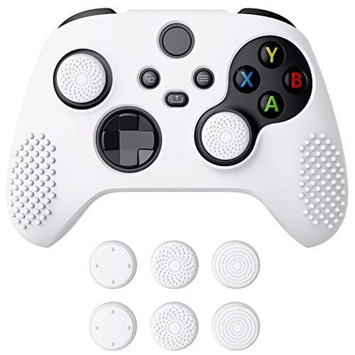 eXtremeRate PlayVital Schutzhülle für Xbox Series S/X,Case Anti-Rutsche Hülle Griffe Skin aus weichem Gummi,6 Stück Weiße Stick Aufsätze für Xbox Series S/X Controller(3D Noppen Edition,Weiß)