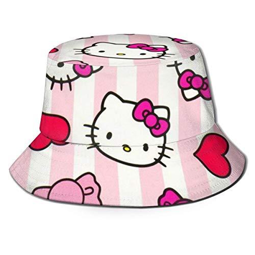 Hello Kitty 'S Bow Bucket Sonnenhut für Männer Frauen - Schutzverpackbare Sommer-Fischerkappe zum Angeln, Safari, Strandbootfahren Schwarz