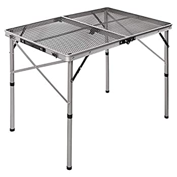 REDCAMP Folding Portable Grill Table for Camping Lightweight Aluminum Metal Grill Stand Table for Outside Cooking Outdoor BBQ RV Picnic Easy to Assemble with Adjustable Heights Legs Silver 36 x24