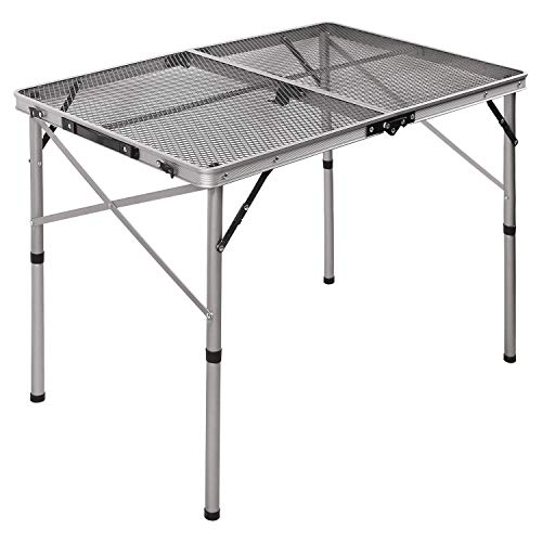 REDCAMP Aluminum Folding Grill Table for Camping, Adjustable Height Lightweight Portable Outdoor Grill Stand Table for Outside Picnic BBQ Beach, Sliver 36x24
