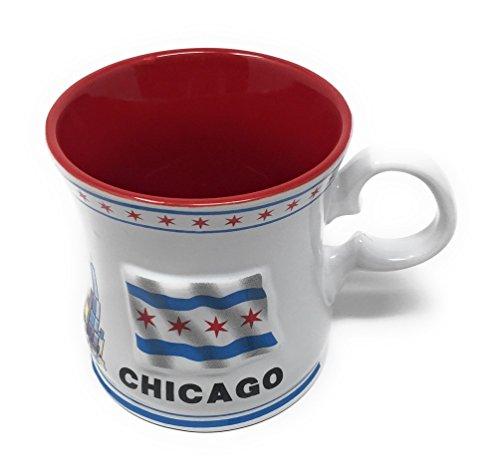 Chicago Flag Souvenir Sculpted Relief Coffee Mug Features I Heart Chicago, Skyline and Raised Chicago City Flag(12 oz. Mug)