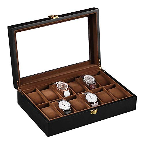 Manyao Watch Display Storage Box Watch Box For Men 12 Slot Display Case Large Holder Metal Buckle (Color : Black, Size : S) (Color : Black, Size : Small)