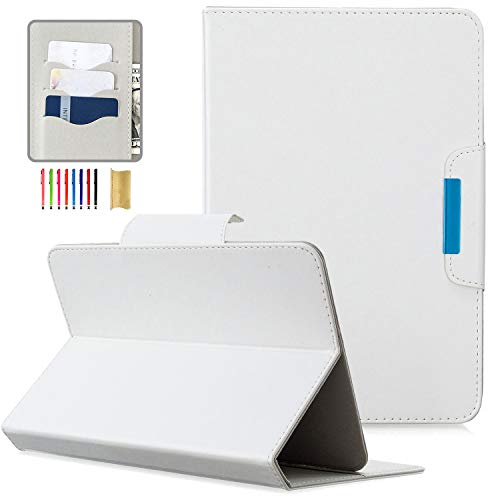 Universal Tablet Case 10 inch, APOLL Card Pocket Simple Style Magnetic Slim Case for Samsung Tab A7 10.4' SM-T500/for MatrixPad 10 inch and Other 9.7' 10.1' 10.2' 10.3' 10.4' 10.5' Tablet, White