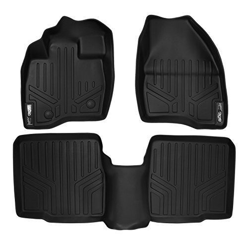 MAXLINER Floor Mats 2 Row Liner Set Black for 2015-2016 Ford Explorer without 2nd Row Center Console