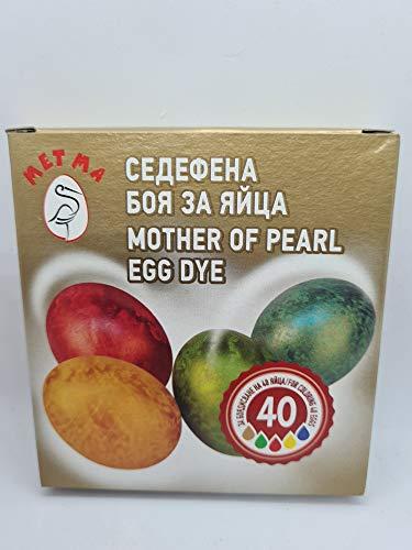 Metma B021-Lote de 5 Pinturas, Color nácar, Amarillo, Rojo, Verde, Azul, con Guante, Pastillas para Colorear, Huevos de Pascua, Multicolor (B021)