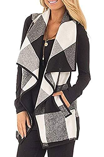 Womens Sleeveless Vest Plaid Hem Drape Open Front Cardigan (Grey, Large)