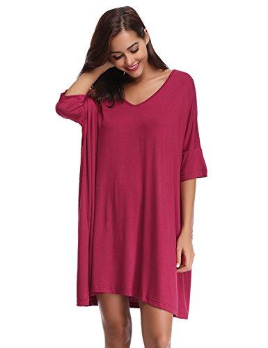 Aibrou Aibrou Damen Nachthemd Nachtkleid Kurz Sommer Nachtwäsche Negligee Umstandskleid Stillnachthemd Sleepshirt aus Modal Weinrot S