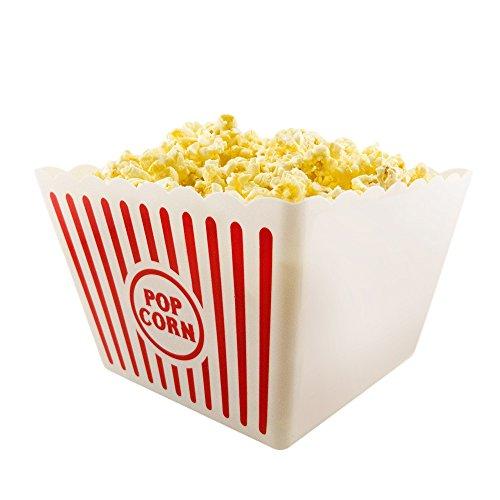 Novelty Place] Recipientes Plásticos para Palomitas de Maíz Clásico con Rayas Rojas y Blancas para Noches de Cine - 20,32 cm Cuadrado x 17,78 cm de Profundidad (1 Paquete)