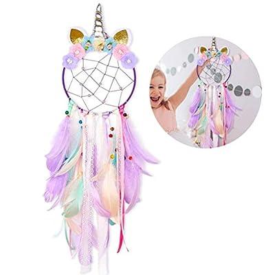 Atrapasueños - WENTS Unicornio Atrapasueños para Niños Atrapador de Sueños Hecho a Mano Flower Pink Dream Catcher para el Dormitorio de Las Niñas Colgante de Pared Decoración