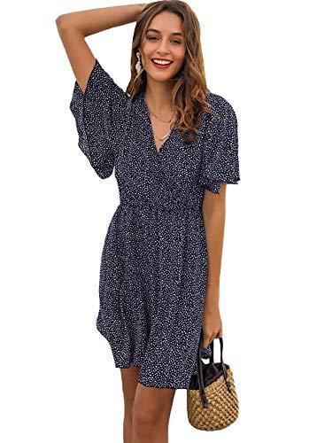 Romwe Women's Short Sleeve V Neck All Over Print High Waist A Line Summer Short Dress Navy L