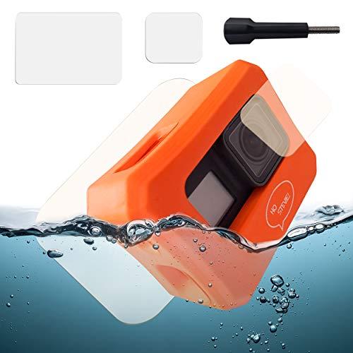 Ho Stevie! Floaty Case + Screen Protectors for GoPro Hero 7, Hero 6, or Hero 5 [Choose Color] (Orange)