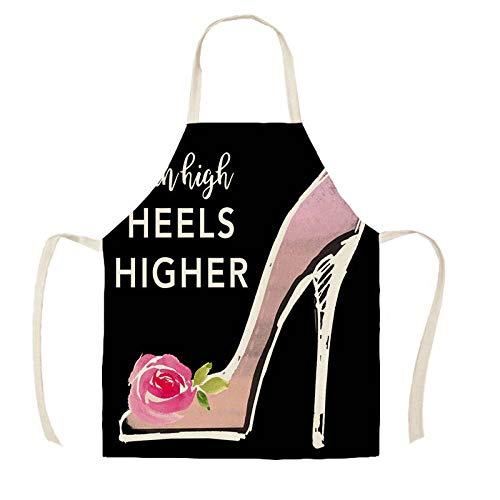 JJFU Kookschort Mooie hoge hakken parfum print keukenschorten unisex diner party cooking slabbetjes funny pinafore reiniging Apron-Wqc28613_38X47Cm