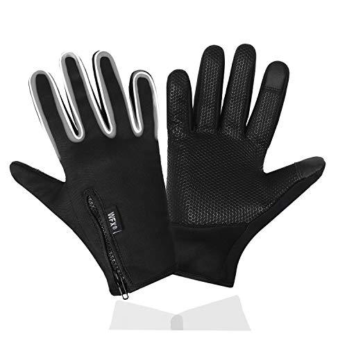 WESTWOOD FOX WFX Winter Warme Handschuhe Sport Outdoor Winddicht Thermohandschuhe Anti-Rutsch-Touchscreen Handschuhe Fahrradhandschuhe für Herren Damen (Schwarz, Medium)