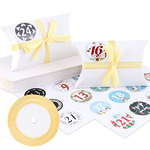 Caja de almohada Caja de regalo, 24 cajas de boda vintage de papel kraft de 13x8.8cm, cajas de galletas con cintas doradas y pegatinas digitales para chocolates, dulces, joyas y pequeños regalos