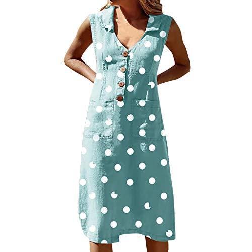 Vestido Informal de Mujer de Lunares de Verano Elegante Vestido sin Mangas con Cuello en V con Cuello en V Profundo (Blue, XL)