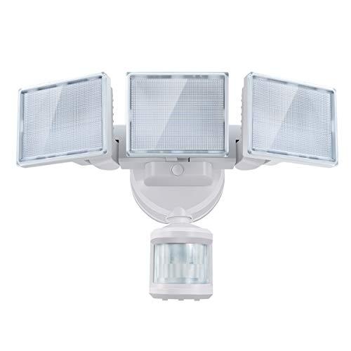 SOLLA led strahler mit bewegungsmelder, 40 W 3000LM Superhell LED Fluter Außen, IP65 Wasserdicht PIR Außenstrahler,5000K 3 Köpfe LED Flutlicht für Garage, Garten, Veranda, Auffahrt