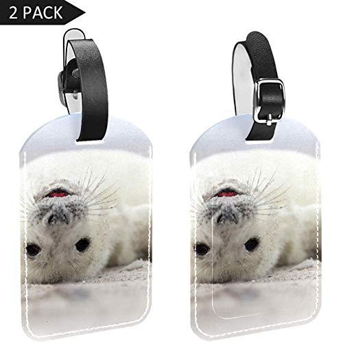 LORVIES Baby Grijs Seal Bagage Tags Reizen Labels Tag Naam Kaarthouder voor Bagage Koffer Tas Rugzakken, 2 PCS