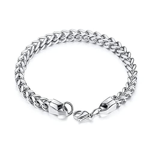 Pulsera unisex para hombre y mujer, de acero inoxidable, con cadena trenzada, color plateado, Acero inoxidable,