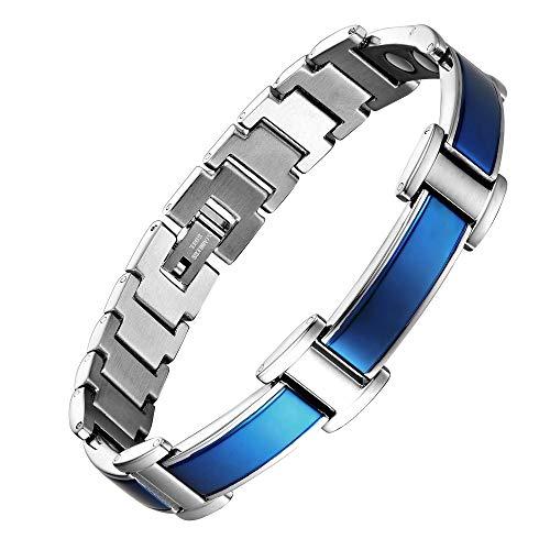Mens Magnetic Bracelets Blue Link Stylish 8.5 Inches Adjustable Titanium Stainless Steel Bracelet for Men, Free Resize Tool and Elegant Gift Box