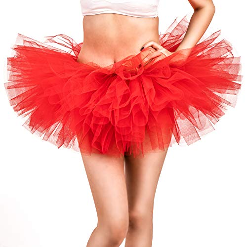 Adult Tutu Skirt, Tulle Tutus for Women, Teens Ballet Skirts Classic 5 Layers Red