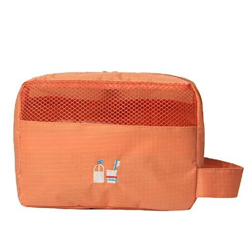 Red de Maquillaje Transparente Rojo con la Bolsa de Almacenamiento Productos de Lavado for niñas Bolsa de Transporte pequeña Impermeable FANJIANI (Color : Orange)